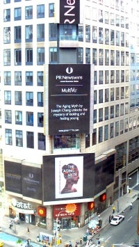 The Aging Myth makes an appearance in Times Square in New York City!